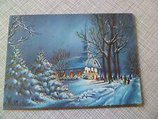 Vintage Christmas Card~Winter Snow Scene Church People Embossed Gold Sunshine