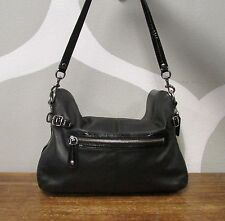 COACH Black Leather Patent Expandable BONNIE Foldover Large Shoulder Bag - 13380