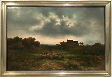 HERMAN SOLBRIG Austrian 19th c. PASTORAL LANDSCAPE PAINTING w/ SHEEP