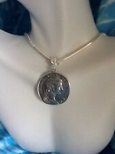 "Silver Roman Greek Coin Pendant With 20"" Silver Snake  Necklace"