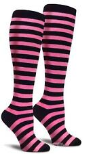 Hot Pink and Black Striped Knee High Long Cotton Crazy Socks Party Cosplay Women