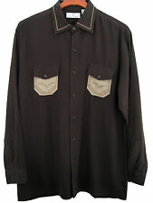 NWT Mens Silk Camp Shirt Western Two Pocket Rockabilly Vintage Style Brown Large