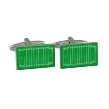 American Football Pitch Cufflinks Gift Boxed nfl league ball pigskin green BNIB