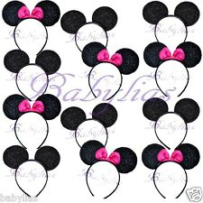 12 Minnie and Mickey Mouse Headband Ears Pink Bows Sparkle Shimmer Sequin