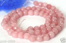 "10mm Natural Faceted Pink Jade Beads Round Gemstone Loose Beads 15"" AAA+"