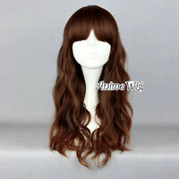 Lolita Style Long Mixed Dark Brown Anime Curly Lovely Lady Cosplay Full Wig
