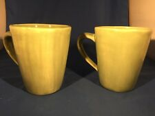 Pottery Barn Over Size Ceramic Green Glazed Coffee Mugs/Cups (2) Microwave Safe