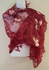 Sexy Wine Red Floral Embroidered Tulle Lace Top Shrug Wrap Bridal Wedding Jacket