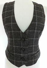 SEXY FITTED CHECK WAISTCOAT TOP VICTORIAN STEAMPUNK DANDY DAPPER WORK OFFICE 12