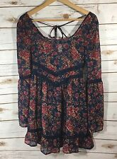 Band of Gypsies Womens XS Sheer Navy Blue Floral Boho Tunic Dress Festival