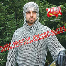 BUTTED ALUMINIUM CHAINMAIL COIF, CHAINMAIL HOOD + FREE PADDED ARMING COTTON CAP