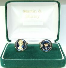 1975 Half Pence cufflinks from real coins in Blue &Gold