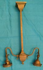 1908 Antique Craftsman Brass 2 Arm Gas Light Welsbach Fixture Chandelier Mission