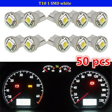 50X Pure White T10 Wedge 5050 SMD LED Gauge Cluster Light Instrument Panel Bulbs
