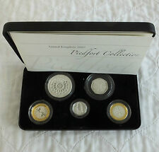 2007 UK PIEDFORT SILVER PROOF 5 COIN SET - boxed/coa