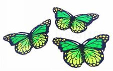 3 pcs Iron On Patch Sew Embroidered Trim 8CM butterfly fabric stickers Green Z17