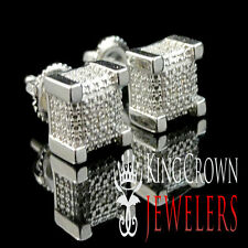 GENUINE DIAMOND 14K WHITE GOLD FINISH MENS BLOCK CUBE STUD EARRING SCREW BACKS