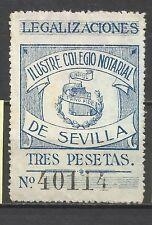 9161-SELLO FISCAL PREFECTO  CLASICO SEVILLA 3 PESETAS COLEGIO NOTARIAL SIGLO XIX