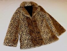 "TOPSHOP MOTEL S LEOPARD PATTERN FUR FABRIC SHORT COAT JACKET CHEST 38"" 97cm"