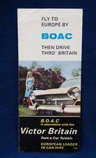 Vintage Aviation Fly to Europe by BOAC Airlines Car Rental Advertising Leaflet