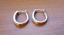 Sterling Silver Loop Earrings Set With Clear Stone Accents Lever Back Gold Wash