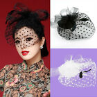 Women Fascinator Wedding Party Veil Feather Hair Clip Hat Mesh Net Handcraft e
