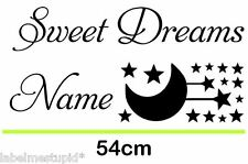 Sweet Dreams with Name Moon and Stars Custom Personalised Baby Wall Sticker
