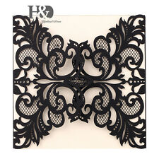 12pcs Black Laser Cut Wedding Party Invitation Cards Ivory Insert Personalised