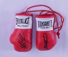 Autografiado Mini Guantes De Boxeo Mike Tyson Vs Frank Bruno