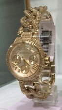 MICHAEL KORS Mini Camille Gold Chain Link Pave Crystal Glitz 34mm Watch MK3330