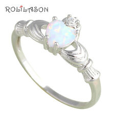 OR568#5 Mini Heart Design Silver Stamped White Fire Opal Fashion Ring for Girls