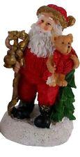 Santa détenant un teddy bear & gold canne, ornementales figurine hauteur 125mm