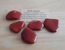 RED JASPER TUMBLESTONES 20/25mm - PACK 5 CRYSTALS WITH CARD