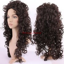Natural Synthetic Curly Wave Straight Full Wig With Bangs Brown Blonde Ombre US