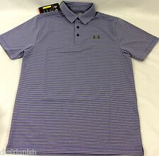 Under Armour MEN'S Athletic Golf Polo Loose Heat Gear Grey Purple Stripes Size M