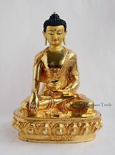 "Fine Quality Gold Face Painted 15"" Shakyamuni Buddha Copper Gold Gilded Statue"