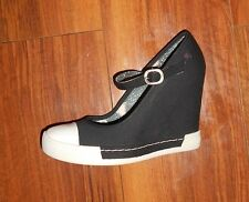 ROCK & CANDY GOLD LUXE LADIES NEW BLACK WEDGE MARY JANE SHOES UK SIZE 2.5 (34.5)