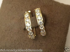 1/2ct Round CZ Cubic Zarconia Hoops Earrings Solid 14k Yellow Gold Hoop Dangle
