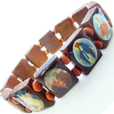 Brown Jesus Christian Icon Wooden Wristband Bracelet Bead - Mens, Womens, Unisex