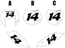 2011 KTM 200XC-W Custom Pre-Printed White Backgrounds Black Numbers