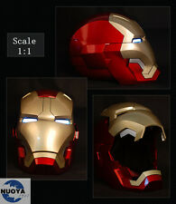 Roan  Iron Man MK42 Costume Mask Helmet Magnetic LED Lighting 1/1 Wearable Face