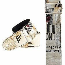 Designer writing cool beige tabloid GUITAR STRAP (3016)