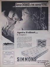 PUBLICITÉ 1956 MATELAS SIMMONS SAVOIR DORMIR APRÈS L'EFFORT - ADVERTISING