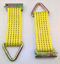 Set of 2 E-Track Clip Nylon Tie-Down Straps with D-Ring 2000 lb MBS Color Yellow