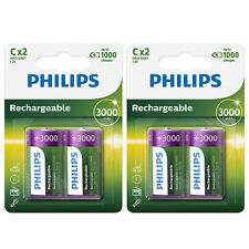 4x Philips C Cell HR14 High Performance NiMH Rechargeable Batteries 3000mAh NEW