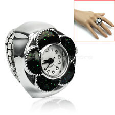 Vogue Women's Metal Black Flower Elastic Quartz Dial Finger Ring Watch Gift