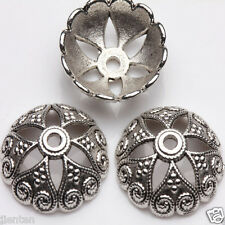 10x Tibet Silver Charm Round Spacer Bead Caps Crafts Making 15x5mm Free Shipping