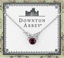 Downton Abbey Collection Deep Purple Violet Silver Bow Necklace Free Ship 17878