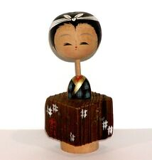 JAPANESE WOOD NODDER KOKESHI DOLL w/ SQUARE WOOD HAORI COAT OVER KIMONO - CUTE !