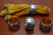 4 PCS GOLD PLATED NAPKIN RINGS SET #T-890